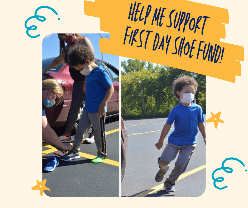 help me support first day shoe fund. child trying on shoes